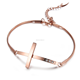 New Stainless Steel rose gold Tone Christian cheap Cross Charm Bracelet for Women Girls Ladies Gift