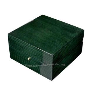Single wooden rectangular button lock watch box piano paint exquisite green wooden box