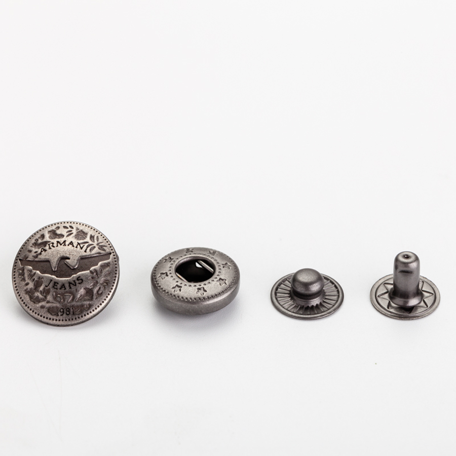 Flatback [ Metal Snap Buttons ] Button Metal Button Fashion Design 10mm Embossed Cap Press Metal Snap Buttons For Leather