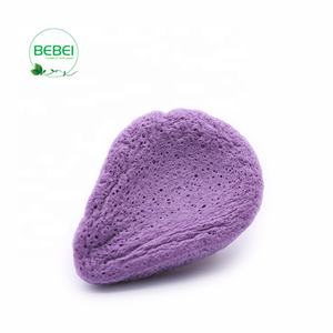 Supply lavender purple water drop shape oven-drying facial cleansing konjac sponge which help skin feel difference