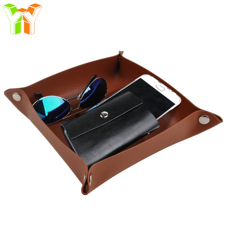 YY Low MOQ Pu Leather Valet Tray Desk Catchall Organizer Key Tray for Home & Office