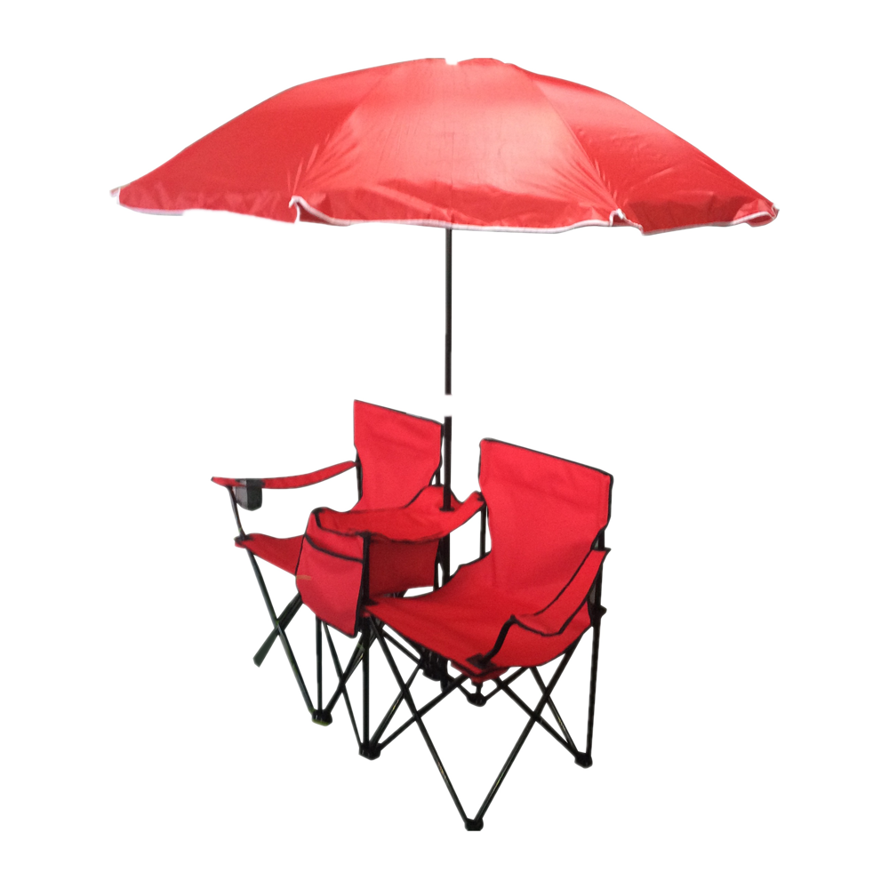 Two Person Beach Chairs Outdoor Picnic Camping Twin Chair Portable Folding Double Chair With Umbrella