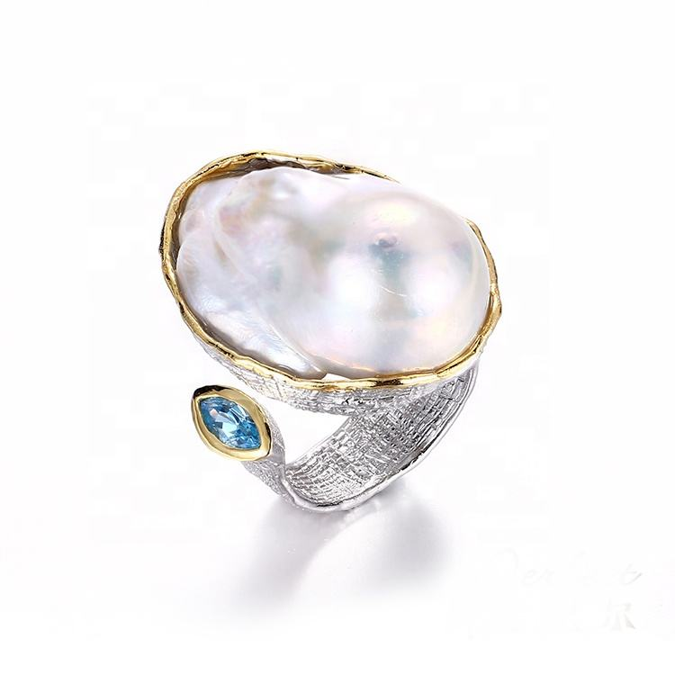 Original Exquisite And Beautiful Ladies White Freshwater Baroque Pearl Ring