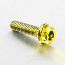 M8 Gold anodized plated aluminum hex flange bolt