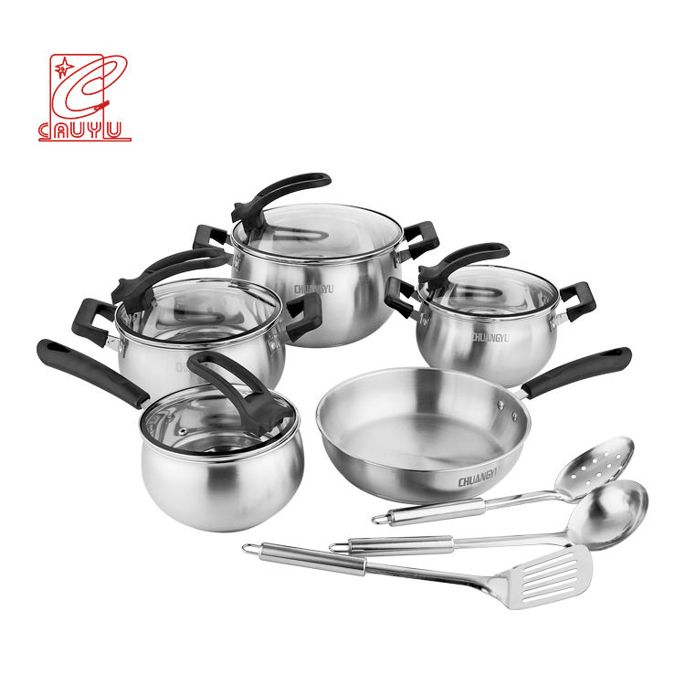 12 Pcs Stainless Steel Induction Cookware Sets Kitchen With Bakelite Handle