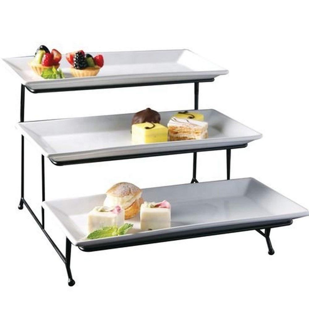 Restaurant special appetizer tableware with iron rack 3 layers stoneware serving platter