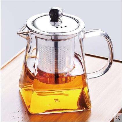 2019 New Design Square Borosilicate Glass Teapot Decorative Tea Kettles with Stainless Steel Infuser