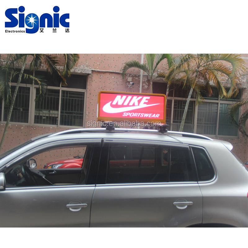 SMD2727 Taxi Topper on Nissan Leaf with 5500nits P5 Taxicab LED Digital Video Function Billboard LED Display