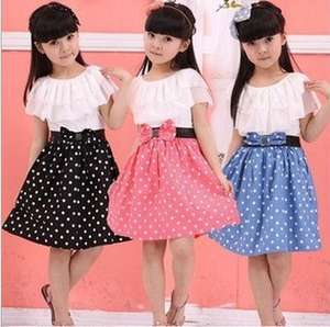 Trendy fancy short sleeve kids clothes splicing fashion lovely casaul printed dot cotton teenage girls dress
