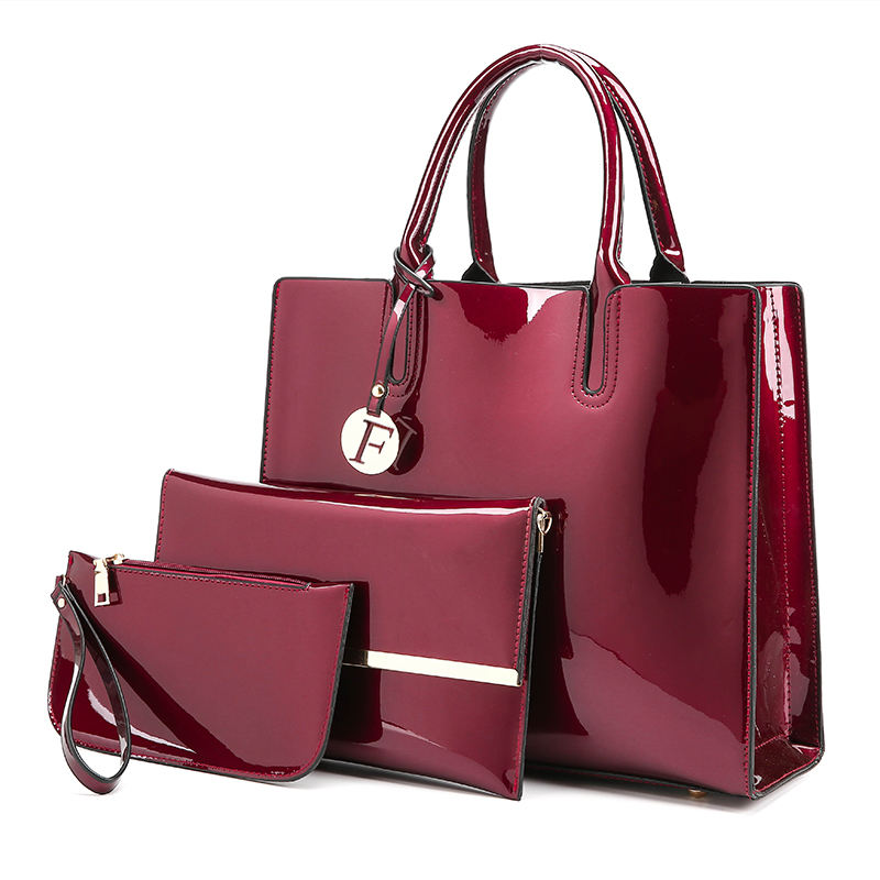 wholesale india designer glitter luxury private label handbag women brands 3 in 1 hand purse bag set for professional ladies