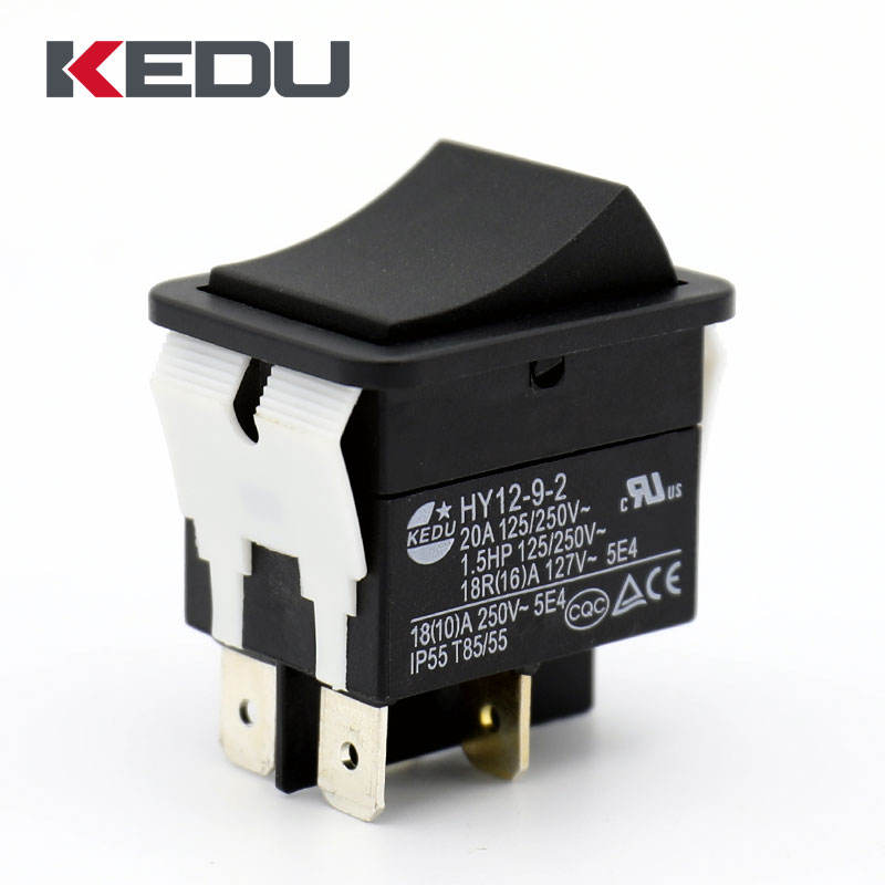 KEDU HY12-9-2 High Quality 4 Pins 20A ON OFF Spring Loaded Rocker Switch With TUV CE CQC