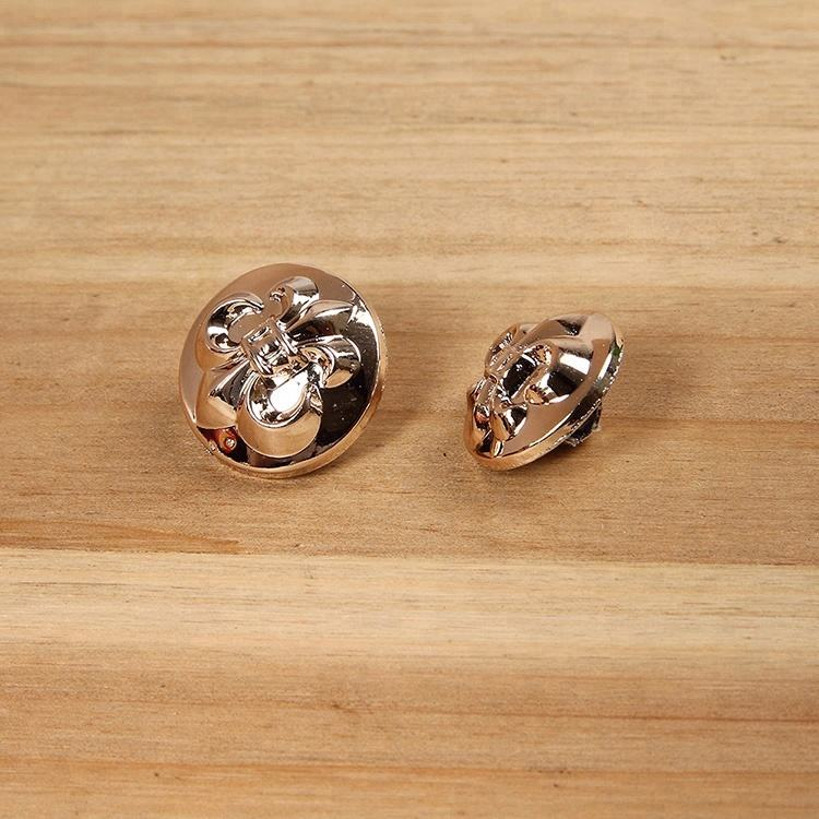 custom embossed logo rose gold sewing plastic button trim with leg