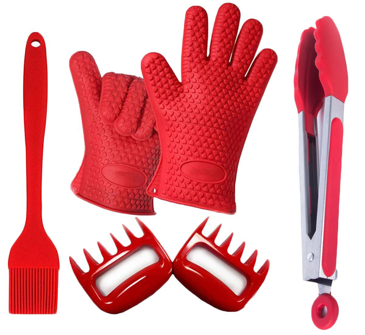 Hot Selling Silicone 4pcs BBQ Barbecue Tool Set Of Tong/ Brush/ Gloves/ Meat Claws