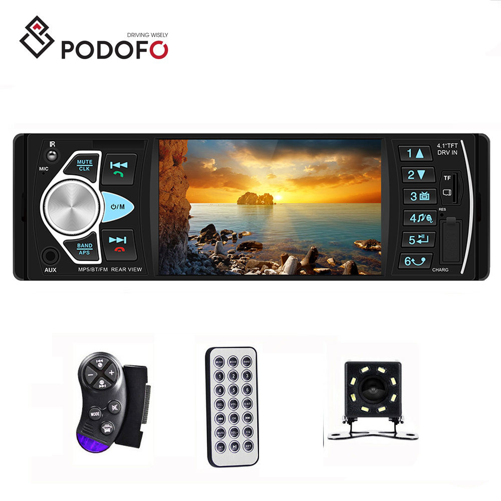 "Podofo 1 Din Car Radio 4.1"" Digital Screen Car MP3 Player Autoradio Stereo + 8 LED Rear View Camera Accept OEM Logo Package"