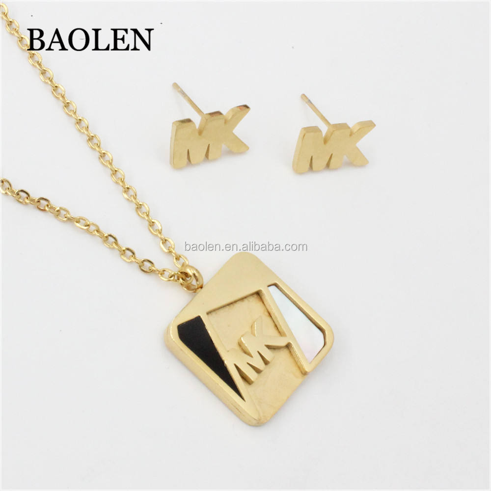 Yupoo Hip Hop Men Jewelry American Women Favorite Luxury Brand Square Shaped Jewelry Sets Necklace Earrings