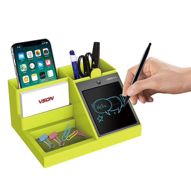 Digital Table Alarm Pen Holder with Writing tablet for Business