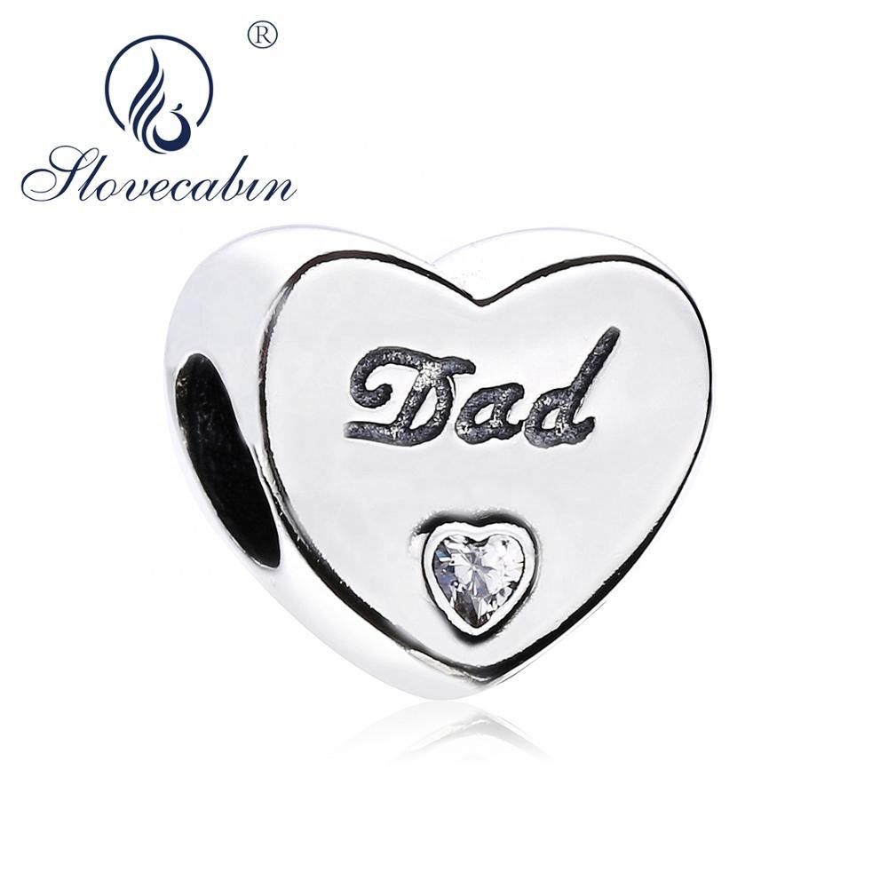 Slovehoony Letter Dad Charm 925 silver Dad's Love Charm beads for DIY Jewelry Making