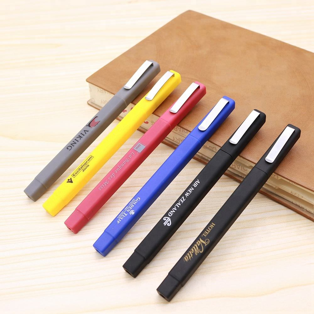 Promotional plastic square shape rubber finished cheap hotel pens with custom logo in stock