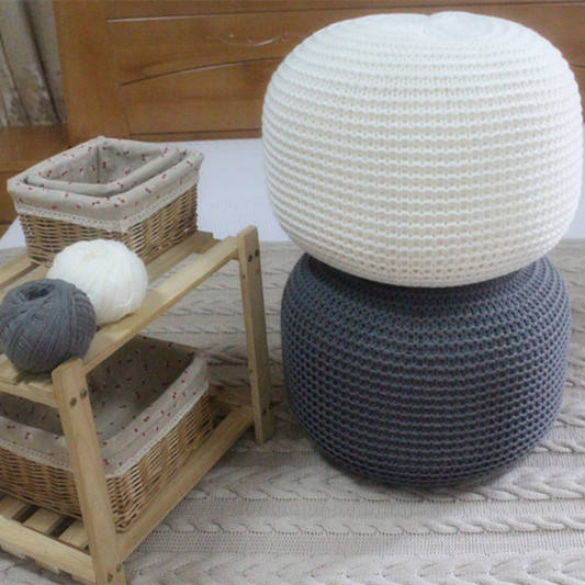 Handmade crochet knitted pouf ottoman, Round Pouf Knitted