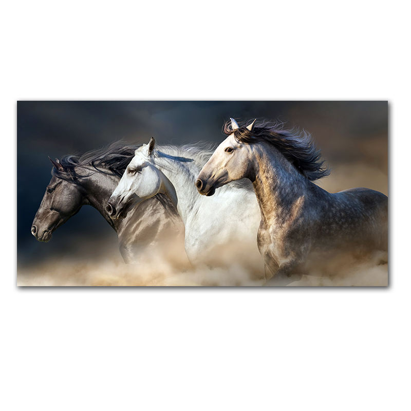 The Running Horse Animal Poster Pictures For Living Room Home Decor Canvas Print chinese horse painting art