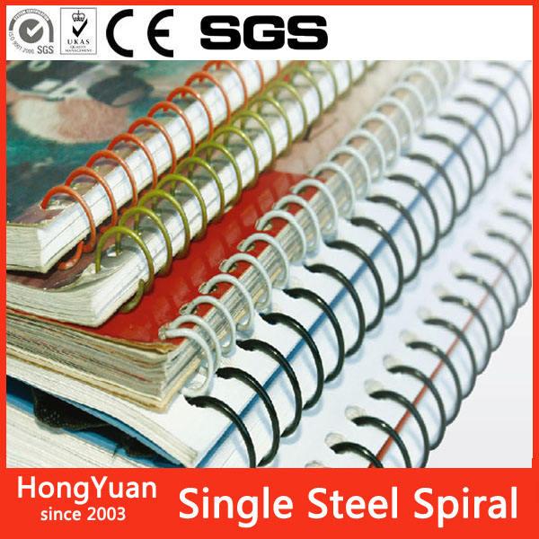 De nylon recubierto de acero sola espiral para la encuadernación de libros, encuadernación en espiral