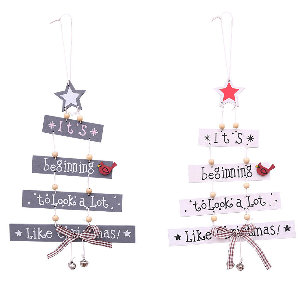 Wholesale wooden hanging christmas tree decorations indoor