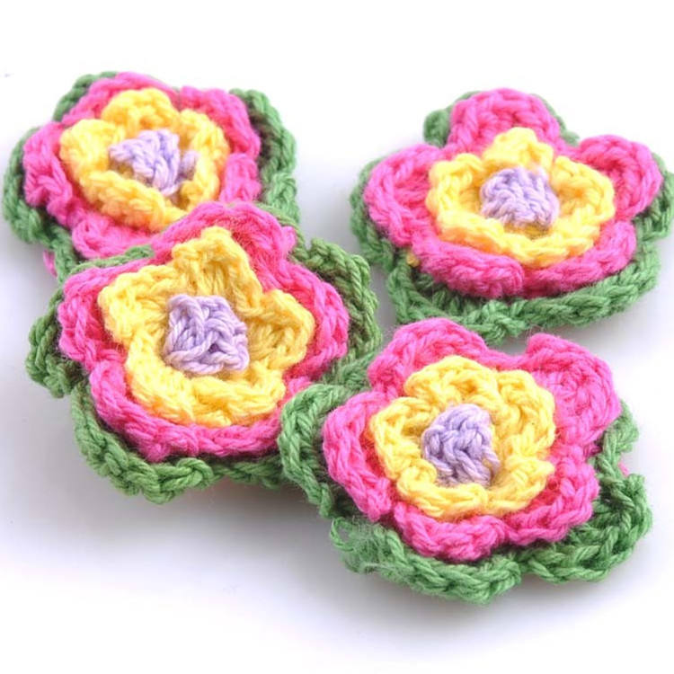 Factory Price Handmade Knitted Flower Cotton Crochet Flowers