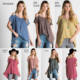 CUSTOM LATEST OFF THE SHOULDER SHIRT DESIGNS FOR WOMEM WASHED COTTON SLUB OPEN SHOULDER HI-LOW T SHIRT TOP WITH SHORT SLEEVES