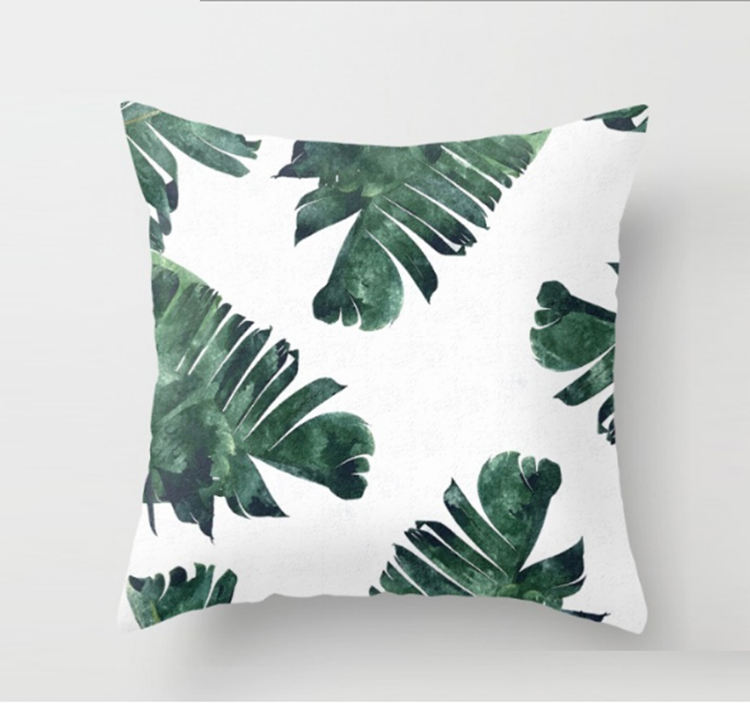 Leaves digital plant printing designed green 45x45 decoration pillows home chair car seat sofa cushion