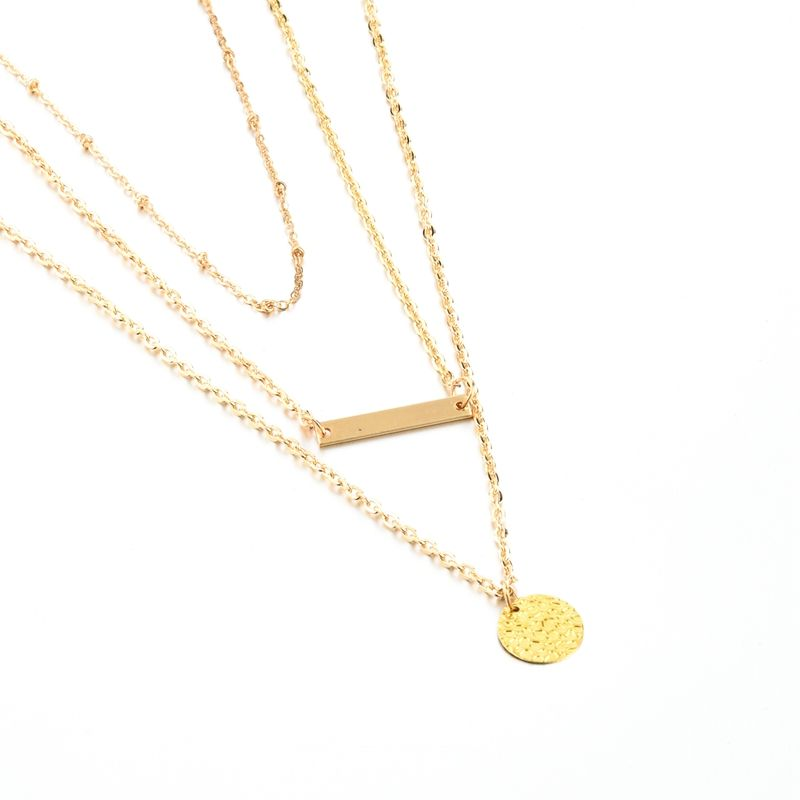 Layered Gold Strip and Round Metal Piece Pendant Necklace Jewelry