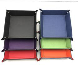 Custom Square Shaped Rectangle Foldable PU Leather Portable Dice Rolling Tray