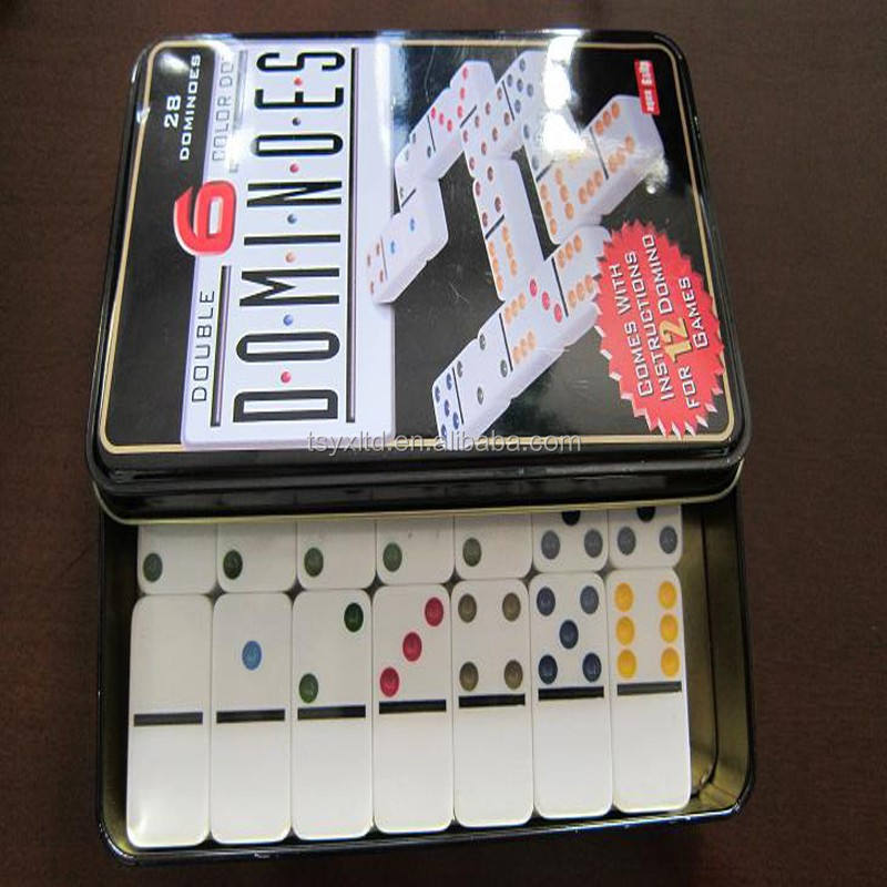 Domino in metall box spiel set