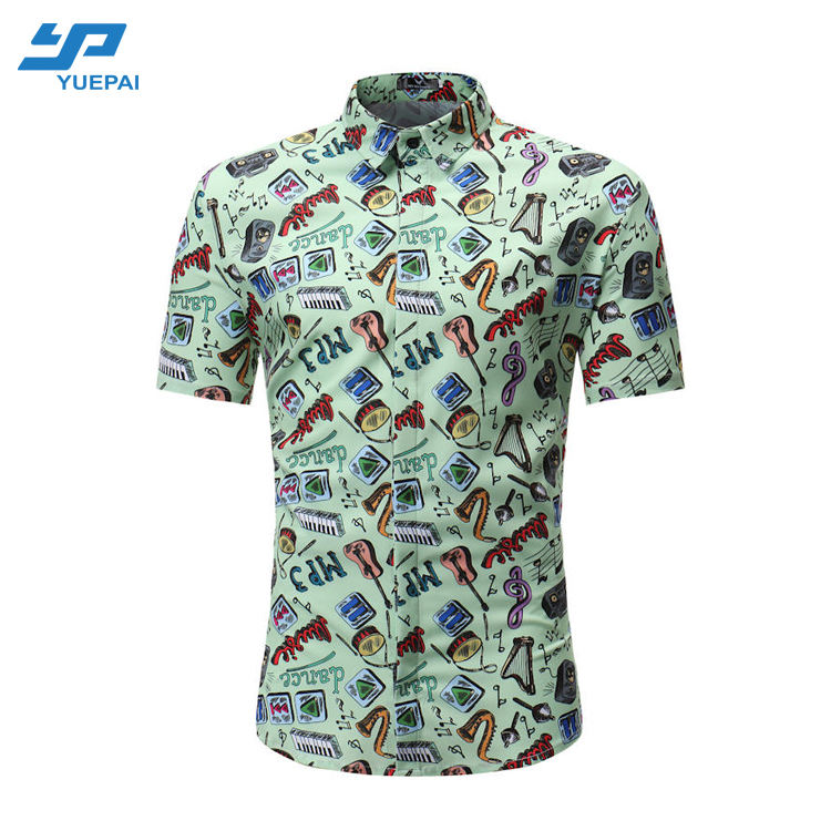 OEM Custom 100% polyester printing quick dry hawaiian shirt custom digital print button down shirt