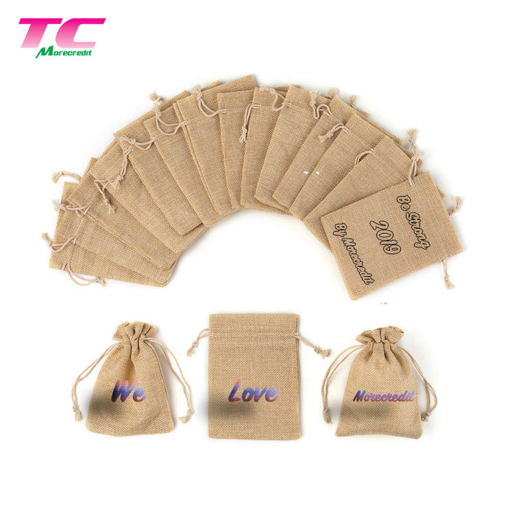 16 Colors Small Drawstring Gift Packaging Directly Factory, 12x9cm Customizable ECO-Friendly Jute Gunny Sack Bags