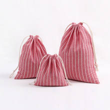 Custom printed cotton hemp striped tea gift drawstring bags