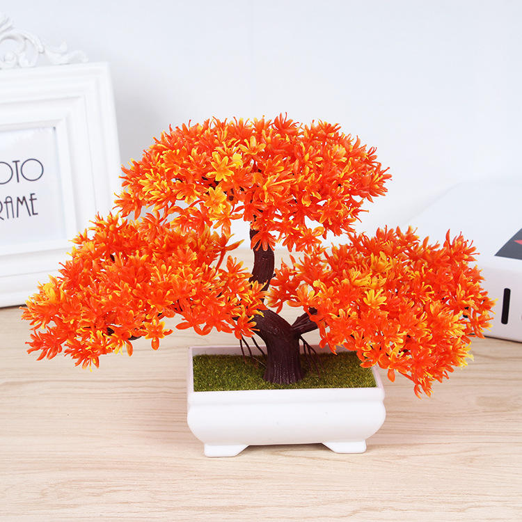 Albero Bonsai pianta pianta artificiale con vaso di fiori artificiali di pino