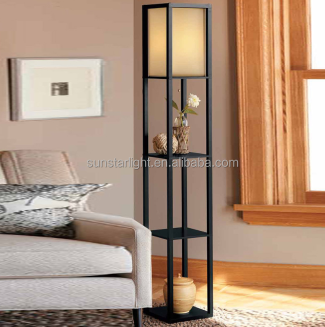 Shelf Wood Custom Floor Lamp With Fabric Shade For Indoor Decoration