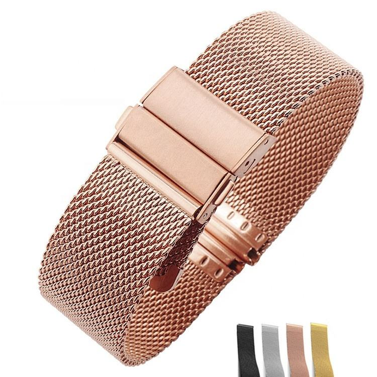 Quickrelease 304 stainless steel 0.6 mesh watch band 와 배포 clasp 버클 16mm-22mm