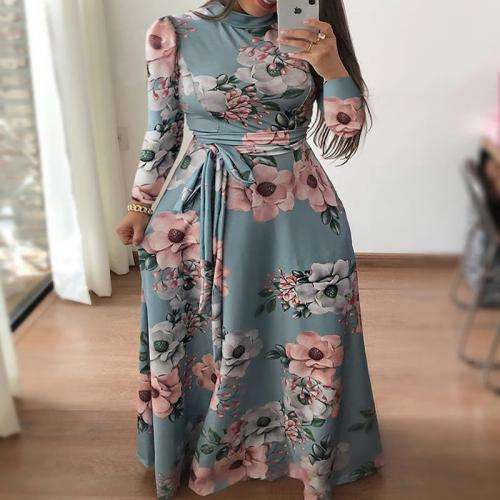women clothing dress Cotton Waist & long style & High Waist One-piece Dress with Knitted printed floral 241704