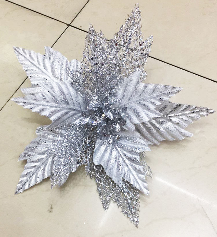 Christmas Party Decoration Supplies Christmas Silver Gold glitter Artificial Wholesale Flowers