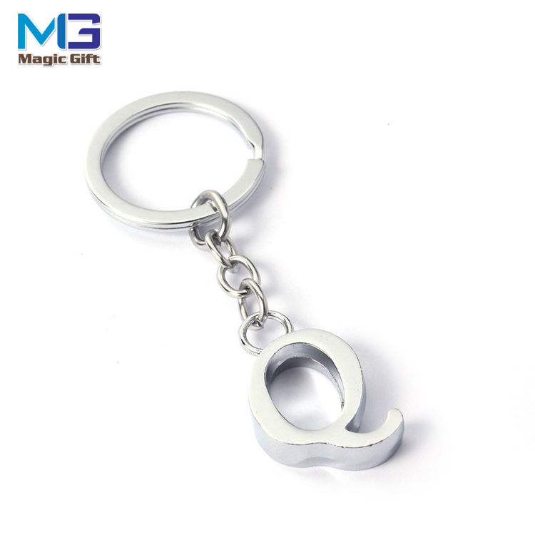 Pretty A - Z Letter Alloy Cool Alloy Pendant Handbag Decor Phone Pendant Creative metal Gift letter Q keychain