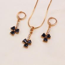 61352 costume black jewelry sets, rose gold color plated earring and necklace