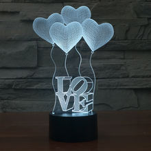 FS-2977 3D Visual Bulb Optical Illusion Colorful LED Table Lamp Touch Romantic Holiday Night Light Love Heart Wedding gif