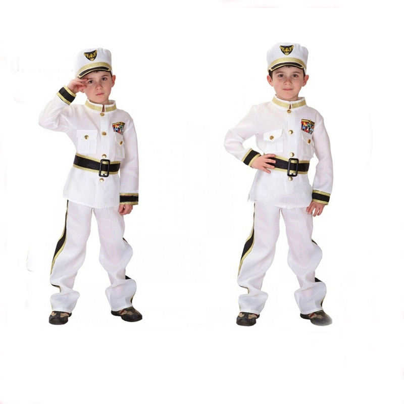 New design attractive navy captain uniform for boys carnival career costumes