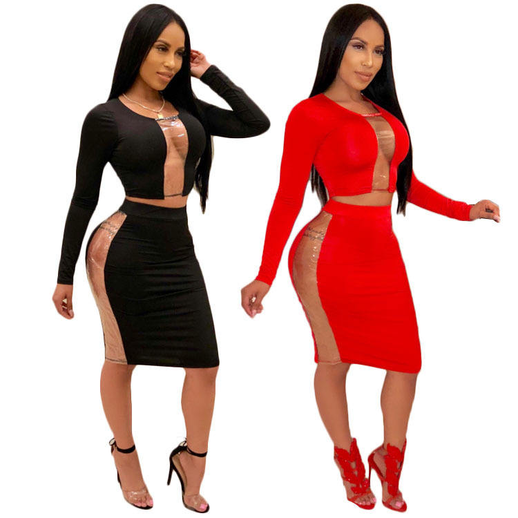 New Arrival Woman Dresses Women Fashion Open Bust Shirts And Skirt Two Piece Set Women Clothing