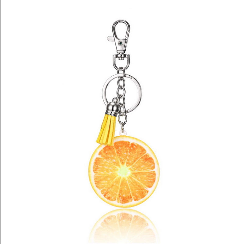 wholesale design shape keychain make your own acrylic custom orange fruit keychain for bag