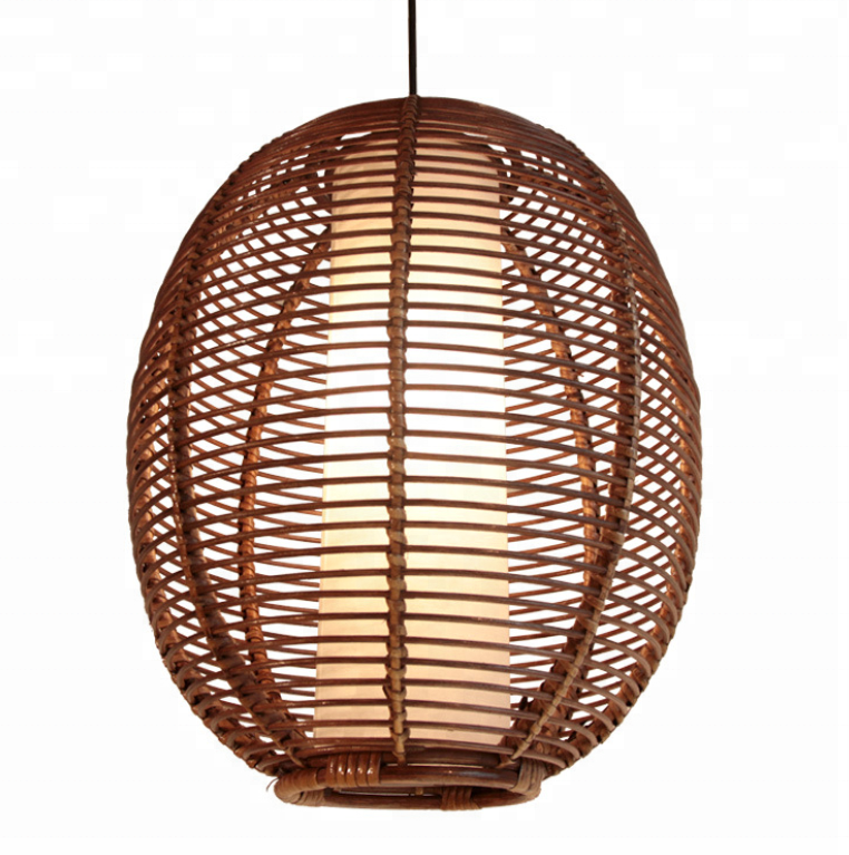 Rattan ball shade lantern ceiling lamp modern indoor architecutre bamboo lantern pendant light fittings for restaurant
