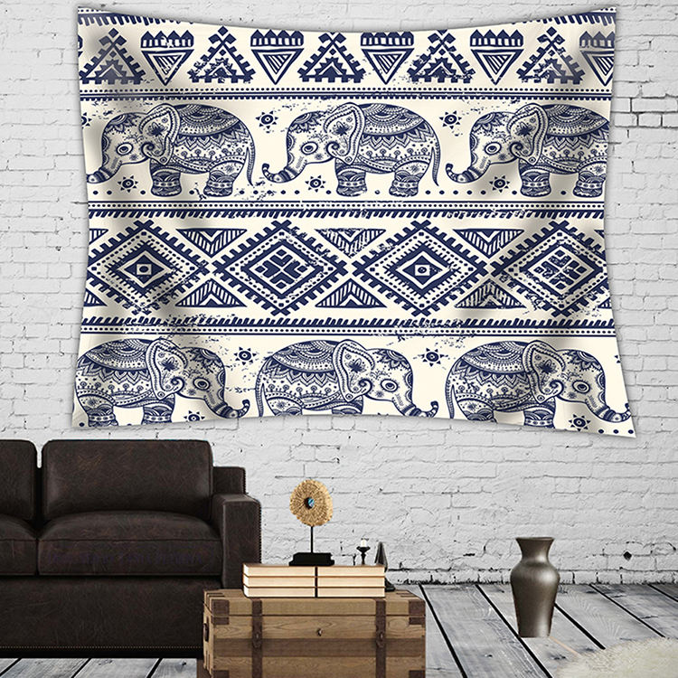 India vintage home decoration fancy print wall hanging custom size mandala tapestry elephant