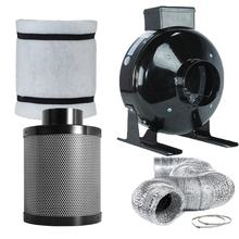 "Low Noise Efficient Odor Removal 4"" carbon filter and in line fan Combo for Grow Tent Kit for Growing System"