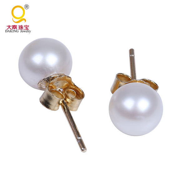 6-7mm round freshwater pearl exquisite fancy stud earring with 925 sterling silver stud
